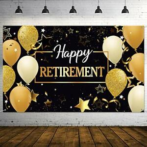 Happy Retirement Party Decorations Extra Large Fabric Black And Gold Sign Banner