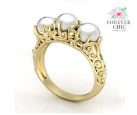 Ring - Solid Yellow Gold and Natural Freshwater Pearl & Moissanite Diamond Ring