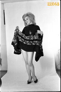 pretty blonde girl in mini clothes, 1970s vintage fine art negative!