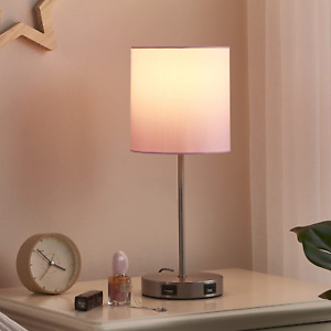 Table Lamp + Touch Control Dimmable with 2 USB Charging Ports Bedroom Nightstand