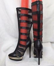 "Liliana Zaria Mesh & Strap Black 1.5""Platform 6"" heel zip front boots-sz 11 sexy"
