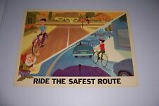 """1966 DISNEY BICYCLE SAFETY RIDE ON THE SAFEST ROUTE 18""""X13"""" 102-H"""
