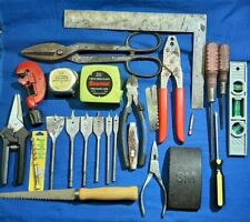 Contractors Junk Drawer Spade Bits, Stanley level, Starrett tape measure, Square