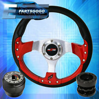 Godsnow Red Fusion Style Steering Wheel + Black Hub Extender For 89-05 Eclipse