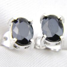 Rectangle Black Onyx Gemstone Silver Stud Hook Earrings