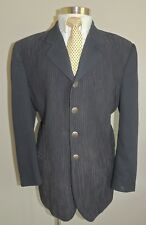 VINTAGE TURBULENCE BLACK POLYESTER BLEND 4 BUTTON SPORT COAT 44R