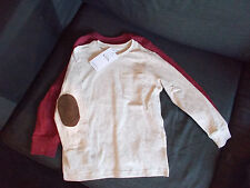 M&S Set of 2 100%Cotton L/Sleeved Tops w/Elbow Patches 5-6yrs 116cm Multi BNWT