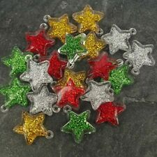 Christmas Stars ,Red Green Gold Silver, 25mm Acrylic pack of 20  S5