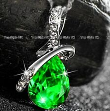 Emerald Green Diamond Necklace Silver Girl Wife Women Christmas Gifts for Her G7