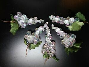 5 Acrylic Faceted Iridescent Grape Clusters With Green Silk Leaves Brown Stem