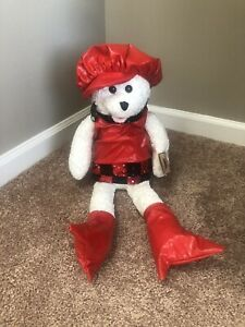 """Chantilly Lane Musicals Teddy Bear Sings """"These Boots Were Made For Walkin"""" Red"""