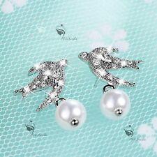 18k white gold gf crystal stud pearl earrings 925 silver pin swallow
