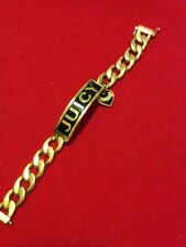 "Juicy Couture ""Juicy"" Gold Tone ID bracelet w/ Heart Charm Chain Bracelet"