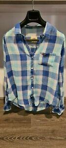 Women's Hollister Blue Check Semi-Sheer Long Sleeve Shirt Size S