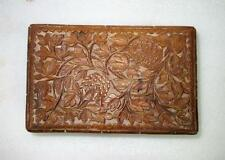 Antique Old Collectible Beautiful Flower Design Hand Carved Wooden Box India