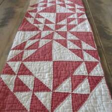 Christmas Perfect! Prim Ocean Waves RED & White Cutter QUILT Piece 28x14