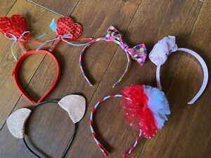 lot 5 girls HEADBANDS kids NEW cat ears HEARTS valentines PINK ROSE gap HAIR