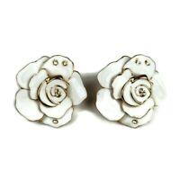 Vintage White Enamel Rose Rhinestone Gold Tone Earrings Omega Clip Fastener