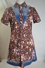 FREE PEOPLE Mini Dress or Tunic Floral Denim Trim Western Snap ANTHROPOLOGIE 8