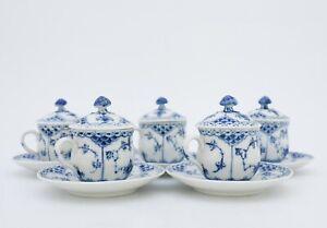 5 x 743 Creme cups - Blue Fluted Royal Copenhagen - Half Lace - 1st Quality