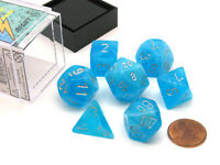 Polyhedral 7-Die Luminary Chessex Glow in the Dark Dice Set - Sky with Silver