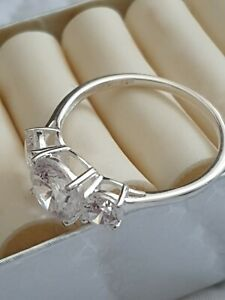 Size T Pretty Three Stone Ring Zirconia sterling silver 925 by J Francis