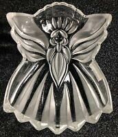 "8.5"" North Pole Express Gorham Crystal Angel Of Peace Candy Dish Frosted Glass"