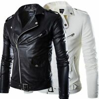 Men Lambskin Leather Jacket Black White Slim fit Biker Motorcycle Jacket Coat