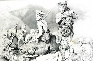 Landseer 1870 DEATH of STAG Scotland Scottish Hunters Dogs Matted Print w STORY