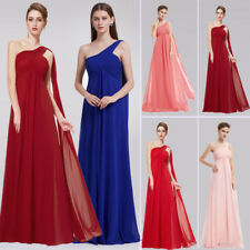 Women One Shoulder Ribbon Long Bridesmaid Dresses Wedding Gowns Evening Dresses