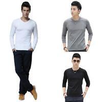 Fashion Casual T-Shirt Mens Cotton Slim Fit Crew Neck Long Sleeve Tops Shirts