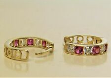 1.00Ct Round Cut Pink Ruby & Diamond Mini Hoop Earrings 14K Yellow Gold Finish