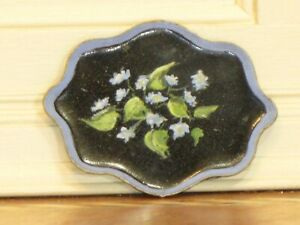 Florence Magee Hand Painted Oval Toleware Tray Artist Dollhouse Miniature