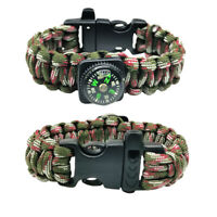 Outdoor Camping Paracord Bracelet Compass Whistle Wristband Emergency Survival 1