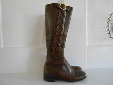 RARE Vintage Florsheim 1970's Brown Leather Tall Side Zip Boots  Rare 7.5D MOD