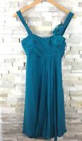 Coast Ladies Size 8 Strappy Floral Silk Dress Prom Blue Turquoise Dark Teal