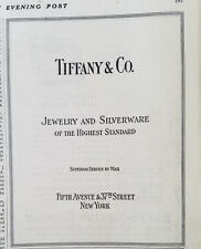1920 Tiffany Co Jewelry And Silverware Highest Standard New York Original Ad