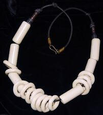 Vintage Ceramic Bead Cluster Necklace Discs and Tubes Black Leather Cord