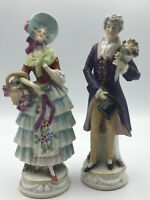 """Antique French Couple 1700s Attire 8"""" Figurines Made in Germany Gold Anchor"""