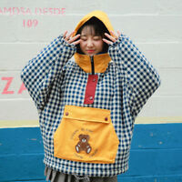 Vintage Japanese Plaid Harajuku Pocket Kawaii Bear Embroidery Sweatshirts Coat