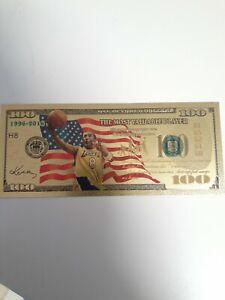 Gold Foil Kobe Bryant 100  Dollar Fake  Bill Mvp