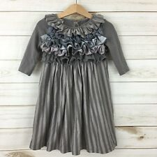 Persnickety Girls Gray/Silver/Pewter Tiered Ruffle Top Stripe Skirt LS Dress. 4Y