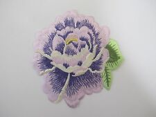 #5089PP Purple Rose Herbaceous Peony Flower Embroidery Iron On Applique Patch
