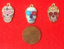 Set of 3 Multi-Patterned Gothic Skull Faces Gold Toned Metal Enamel Charms (B5-A