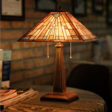 """Tiffany Style Mission 2-Light Table Lamp with 16"""" Stained Glass Lampshade Home"""