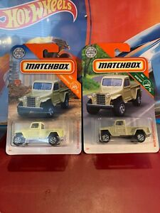 2019 Matchbox (2) MBX Rescue '51 Willy's Yellow & Sand Color Variations Jeep PU!