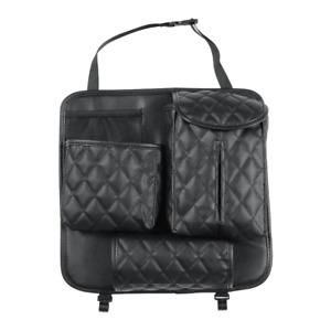 Car Seat Back Bag Organizer Storage Phone Tissue Holder Multi-Pocket PU Leather