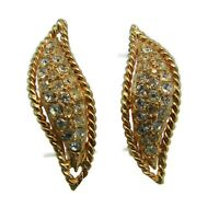 Hattie Carnegie Gold Tone and Crystal Earrings Clip On Signed Vtg 1960s High End