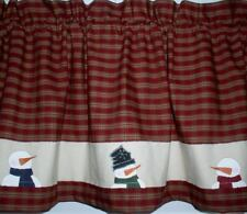Snowman Valance Tiers Table Runner Country Primitive Snowman Winter Curtains