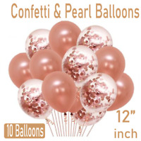 "10pc Rose Gold CONFETTI LATEX BALLOONS Helium 12"" Birthday Baloons Party Wedding"